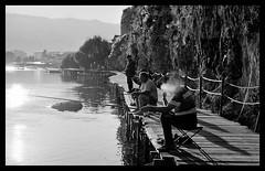 Early Morning Catch (Michael Kommarov) Tags: macedonia nikon voigtlander ohrid 35mm white lomography analog f3 film black potsdam lake