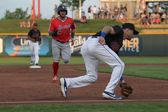 Featherston picking up a grounder (Minda Haas Kuhlmann) Tags: sports baseball milb minorleaguebaseball pacificcoastleague omahastormchasers nebraska omaha papillion sarpycounty outdoors omahasizzle taylorfeatherston