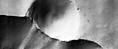 Crater on the Edge, variant (sjrankin) Tags: 30august2019 edited nasa mars marsreconnaissanceorbiter grayscale esp0189401680 crater valley edge 3299mb large caprichasma