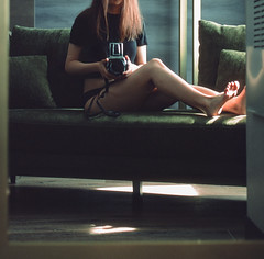 Velvet Green (selfie on film) (rantropolis) Tags: selfportrait selfie hasselblad hasselblad500cm fuji fujifilm film 120format 120 provia slide velvet green couch roaring 20s