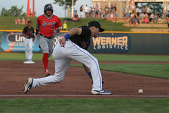 Grounder to Featherston (Minda Haas Kuhlmann) Tags: sports baseball milb minorleaguebaseball pacificcoastleague omahastormchasers nebraska omaha papillion sarpycounty outdoors omahasizzle taylorfeatherston