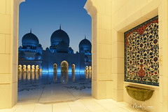 Blue hour magic (marko.erman) Tags: abudhabi geandmosque sheikhzayed islamicart unitedarabemirates uae mosque religious religion islam architecture domes arches arcades courtyard illuminations night blue bluehour sony flowerpatterns travel popular famous beautiful