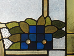 """Floral Details of an Art Nouveau Stained Glass Window on the Stairwell of """"Tolarno"""" - Fitzroy Street, St Kilda (raaen99) Tags: tolarno thetolarnohotel housename victorianhouse victorianmansion mansion victoriana edwardiana hotel motel guesthouse accommodation stainedglass stainedglasswindow stainedglasswindows artnouveaustainedglass artnouveaustainedglasswindow fitzroystreet fitzroyst victorianstyle nineteenthcentury twentiethcentury twentiethcenturystainedglass nineteenthcenturystainedglass window edwardian melbourne victoria australia domesticarchitecture house home architecture housing 20thcentury 19thcentury artnouveau nouveau 1900s stkilda artsandcrafts artsandcraftsmovement artscraftsmovement artscrafts detail interior room stairwell staircase flowers floral flora flower daisy branch leaves leaf blue gold yellow green mirkamora"""