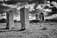 footprint (the ripped bystander) Tags: blackwhite ruins castle sky hautdefrance meadow