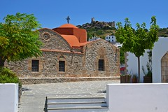 goodbye Asklipio! (green_lover (your COMMENTS are welcome!)) Tags: castle history church architecture ruins village greece rhodes asklipio cloudless rodos