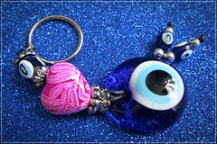 souvenir from Greece :) (green_lover (your COMMENTS are welcome!)) Tags: keyring souvenir blue lookingcloseonfriday heart pink circle frame greece glass