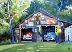 Friend's Garage, Plein Air, 2019-08-28 (light and shadow by pen) Tags: watercolor landscape garage backyard art