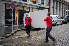 """Heavy load"" (Terje Helberg Photography) Tags: candid citylife cityscape citywalk color colour employee outdoor outside people red street streetphotography streetlife urban work working"