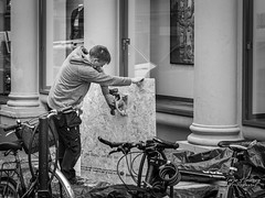 """The carpenter"" (Terje Helberg Photography) Tags: bw blackandwhite bnw candid citylife cityscape citywalk employee mono monochrome outdoor outside people street streetphotography streetlife urban work working"