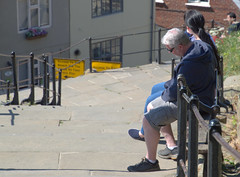 Resting half way up the 199 steps at Whitby (Tony Worrall) Tags: yorkshire yorks scene scenery northyorkshire resort yorkshirephotos east eastern seasidetown holidays tourists coast photographsofwhitby whitbyphotos whitby north update place location uk england visit area attraction open stream tour country item greatbritain britain english british gb capture buy stock sell sale outside outdoors caught photo shoot shot picture captured ilobsterit instragram candid street rest steps climb candidshot streetphotography rail