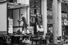 """The Courier"" (Terje Helberg Photography) Tags: bw blackandwhite bnw candid citylife cityscape citywalk delivery employee espressohouse mono monochrome outdoor outside people street streetphotography streetlife urban work working"