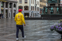 """Human advertising"" (Terje Helberg Photography) Tags: diplomis candid citylife cityscape citywalk color colour employee outdoor outside people red street streetphotography streetlife urban work working yellow"