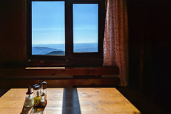 table with a view (the tin drummer) Tags: table view mountains minimal spices horizon curtains sky lanscape vladeasa romania apuseni cabana