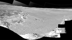 Partial Martian Panorama, variant (sjrankin) Tags: 30august2019 edited nasa mars msl curiosity galecrater sand rocks dust primage pia23346 panorama grayscale mountains craterrim