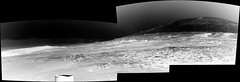 Mount Sharp and Crater Rim, variant (sjrankin) Tags: 30august2019 edited nasa mars msl curiosity galecrater sand rocks dust panorama grayscale navcam mountsharp sky haze mountains