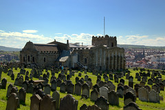 St Mary's Church and graveyard at Whitby (Tony Worrall) Tags: yorkshire yorks scene scenery northyorkshire resort yorkshirephotos east eastern seasidetown holidays tourists coast photographsofwhitby whitbyphotos whitby north update place location uk england visit area attraction open stream tour country item greatbritain britain english british gb capture buy stock sell sale outside outdoors caught photo shoot shot picture captured ilobsterit instragram grave gravestones church abbey graveyard tomb arch stmaryschurch