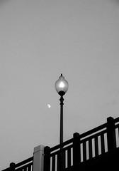 Moonlight/Lamppost (H.Treuth) Tags: lampost moon fence footbrideg tamsui taiwan blackandwhite fujifilmxt3 bw