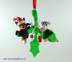 Little Santa Fox and Wee Lily on Glass Holly (Quernus Crafts) Tags: polymerclay quernuscrafts cute glassholly phoenixglass christmas fox santahat santafox rat customrat key