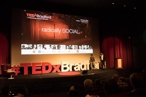 Tedx Bradford - Kamran, Imran, on stage, introduction, Wideshot
