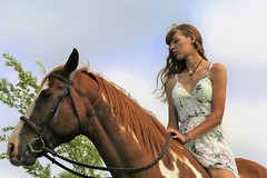 Inseparable (Scott RS) Tags: horse woman young beautiful brown hair ride connection love bond close pretty dress necklace delicate tender sweet dear country friendship
