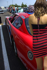 Red Stripes Red Car (Scott 97006) Tags: car vehicle hotrod dress red woman female lady cute