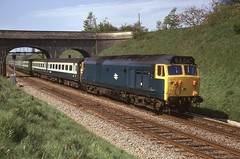 UNNAMED (Malvern Firebrand) Tags: 50004 st vincent bristol paddington thingley junction may 1975 hoover unnamed class50 50xxx br blue engine loco locomotive wr westernregion englishelectric bridge vehicles passenger express transport wiltshire railways trains