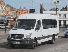 C T Plus . Hackney , London . BU16HBJ . Eastern Esplanade , Southend-on-Sea , Essex . Friday 30th-August-2019 . (AndrewHA's) Tags: bus essex southendonsea minibus ct plus hackney community transport mercedes benz sprinter mobility 45 white welfare