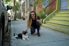 (Just A Stray Cat) Tags: 35mm 35 mm film analog analogue olympus mju ii mjuii stylus epic kodak color plus 200 cat cats kitty kittens stray feline street urban girl montreal canada quebec le plateau
