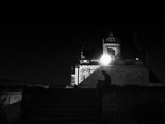 The Night Reader (Ageeth van Geest) Tags: iphone reading night man castle france bw blackandwhite monochrome zwartwit