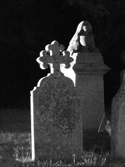Night Time Illuminated St Mary's Church Over Aug 2019 D (Uncle Money UK) Tags: nighttime illuminated stmaryschurch over august 2019 black white blackandwhite graveyard
