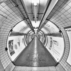Vanishing Point #3 (Joseph Pearson Images) Tags: underground subway tube metro tunnel london embankmentstation fisheye vanishingpoint square blackandwhite mono bw