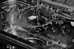Let it flow. (Les Fisher) Tags: smileonsaturday letitflow liquid water overflow splash waterdroplets droplets blackandwhite monochrome