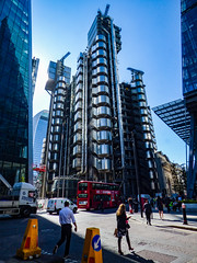 Polished Metal (Steve Taylor (Photography)) Tags: bus architecture pedestrian bollard uk greatbritain england people building london metal truck design shiny unitedkingdom gb van external keepleft lloydsoflondonbuilding