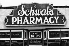 Schwab's Pharmacy (Thomas Hawk) Tags: america florida orlando schwabspharmacy usa unitedstates unitedstatesofamerica universal universalorlandoresort universalstudios universalstudiosflorida universalstudiosorlando bw neon neonsign pharmacy fav10 fav25 fav50
