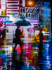 Wet Wednesday (Steve Taylor (Photography)) Tags: uk gb greatbritain raining umbrella camden dank dankitchner graffiti mural streetart tag contrast colourful neon people england unitedkingdom london reflection weather