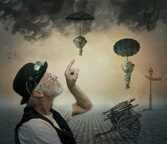 Arrival (Johnny_7) Tags: people outdoors ctreatures man steampunk balloon ship lamppost cart surreal strange unusual umbrella hat goggles finger clouds