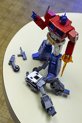Prime takes his first face. (Lily Rin) Tags: transformers optimus prime wildrider masterpiece 3p truck ferrari toy