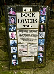 Book Lovers' Tour, Edinburgh, UK (Robby Virus) Tags: edinburgh scotland uk unitedkingdom britain greatbritain book lovers tour ad sign signagerobert burns sir walter scott robert louis stevenson arthur conan doyle advertisement