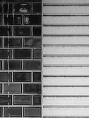 Bricks and Slats (Nick Condon) Tags: abstract architecture blackandwhite hakone japan olympus45mm olympusem10 wall bw monochrome brick paint glass outdoor exterior