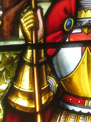 """Detail of the St George and the Dragon Window by Ferguson and Urie on the Stairwell of """"Tolarno"""" - Fitzroy Street, St Kilda (raaen99) Tags: fergusonandurie fergusonanduriestainedglass fergusonurie fergusonuriestainedglass victorianstainedglass tolarno thetolarnohotel housename victorianhouse victorianmansion mansion victoriana hotel motel guesthouse accommodation stainedglass stainedglasswindow stainedglasswindows stgeorge saintgeorge saintgeorgeandthedragon stgeorgeandthedragon saint english british englishsaint chivalry dragon legend englishlegend fitzroystreet fitzroyst victorianstyle nineteenthcentury nineteenthcenturystainedglass window melbourne victoria australia domesticarchitecture house home architecture housing 19thcentury 1890s 1880s stkilda detail interior room stairwell staircase flower floral flora rose tudorrose unionjack branch leaves mirkamora gothicrevival valour armour armor gothicrevivalstainedglass gothicrevivalstainedglasswindow"""