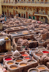 Making cow skin into leather - Fez, Morocco (TravelsWithDan) Tags: pits wells leatherprocessing dyes workers fez morocco medina candid medieval canon5d cityscape africa colorful city urban skins processing