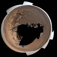 Full Gale Crater Panorama, variant (sjrankin) Tags: 31august2019 edited nasa mars curiosity galecrater mountsharp sky haze rocks sand dust wheels tracks wheeltracks panorama 360panorama pia23346 primage 1730mb large