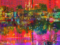 River Reflection (brillianthues) Tags: river reflection abstract water colorful collage photography photmanuplation photoshop