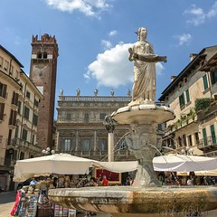 The sculpture on this fountain was built in 380 AD by Romans. You can see St. Mark's Lion in the back and behind the Lion: the Baroque Palazzo Maffei.  . . #europe #italy #italia #veneto #verona (pinus.acer) Tags: the sculpture this fountain was built 380 ad by romans you can see st marks lion back behind baroque palazzo maffei europe italy italia veneto verona