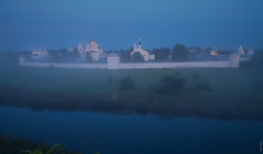 RUS72534 - Foggy Morning. Monastery (rusTsky) Tags: red landscape architecture river water sky blue morning fog foggy sunrise travel orthodox church tree meadow green beauty longexposure outside field russia canon eos5d