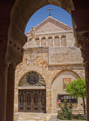 The Church of The Nativity, Bethlehem, Palestine (Ray in Manila) Tags: statue carving holyland white pilgrimage grotto basalica door architecture arch cross ancient touristy historical middleeast palestine unesco eos650d christ jesus church bethlehem