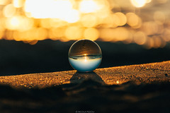 Goodmorning Sphere (Nicola Pezzoli) Tags: formentera isola island spain sea mediterraneo mare holiday vacanze baleari baleares nature natura sphere sfera vetro glass crystall ball sunrise morning alba bokeh zoom beach sand spiaggia sabbia illetes