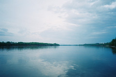 Duna • Donau • Danube (Moesko Photography) Tags: analogue olympusxa2 danube river water reflection nature outdoor summer evening sky clouds landscape