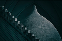 Outed Space (HWHawerkamp) Tags: no people architecture city church reykjavik iceland architzecture blue steps domes monochrome graphics abstract