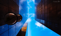 immermann.center.lookup (grizzleur) Tags: architecture lookup blue sky pretty shape shapes warm cool contrast texture grit gritty lines